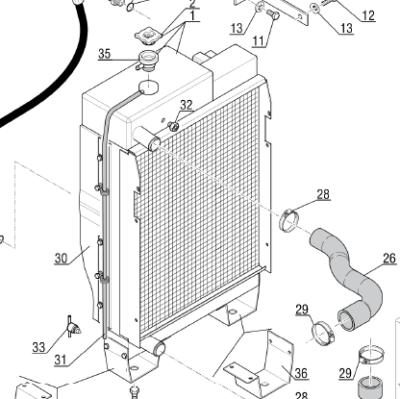 Радиатор 243030 на погрузчик Маниту